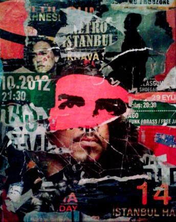 istanbul-14, Istanbul 50 x 40 cm, affiches lacérées et marouflées sur toile